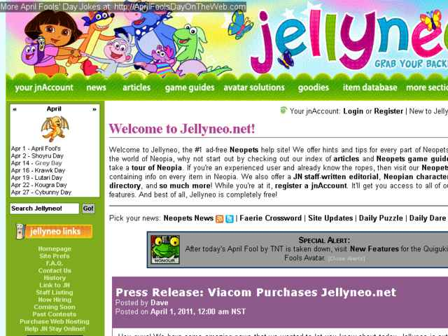 April Fools' Day On The Web (2011/10879) (jellyneo net - Neopets