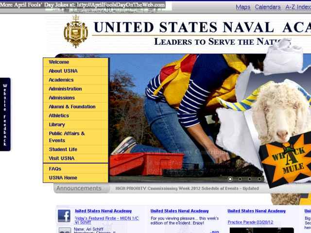 April Fools' Day On The Web (2012/11171) (usna edu - Mascot