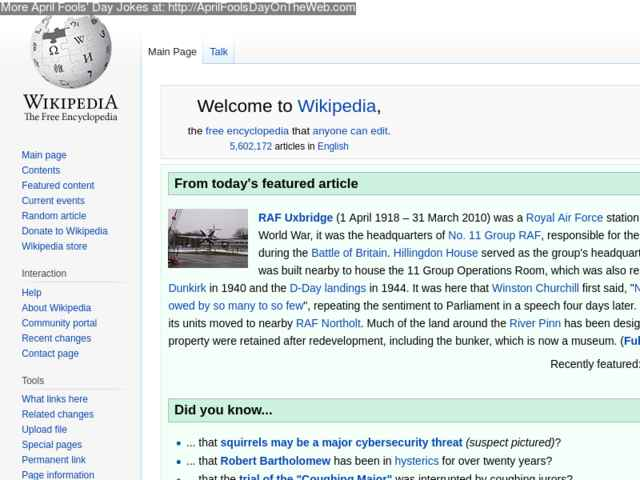 April Fools' Day On The Web (2018/20180183) (en wikipedia