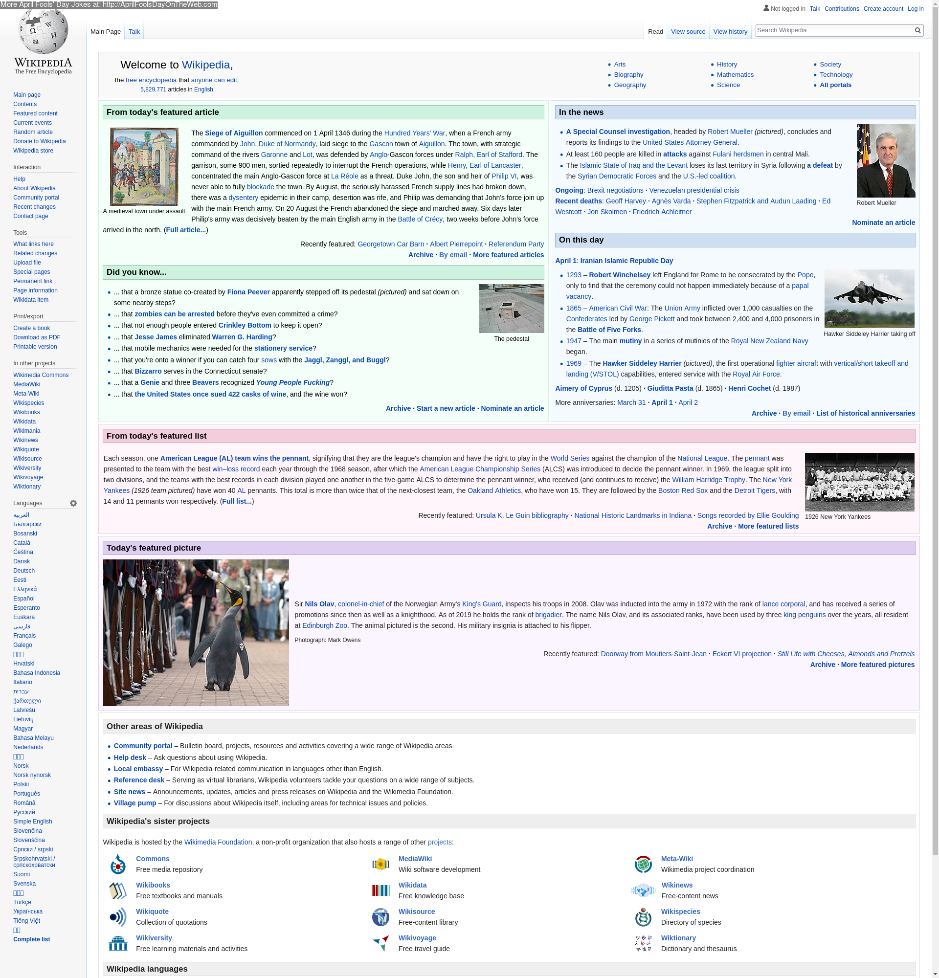 April Fools' Day On The Web (2019/20190174) (en wikipedia
