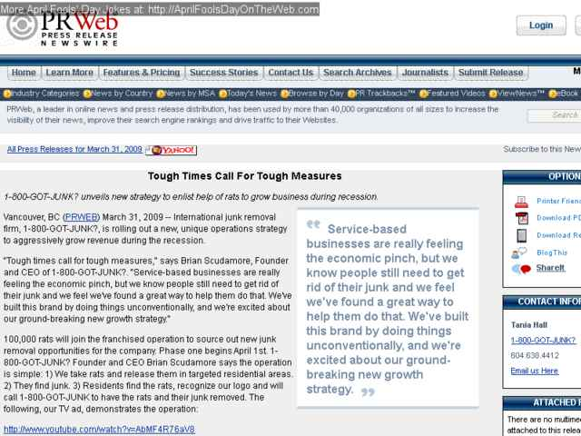 April Fools' Day On The Web (2009/7173) (prweb com - 1-800-GOT-JUNK