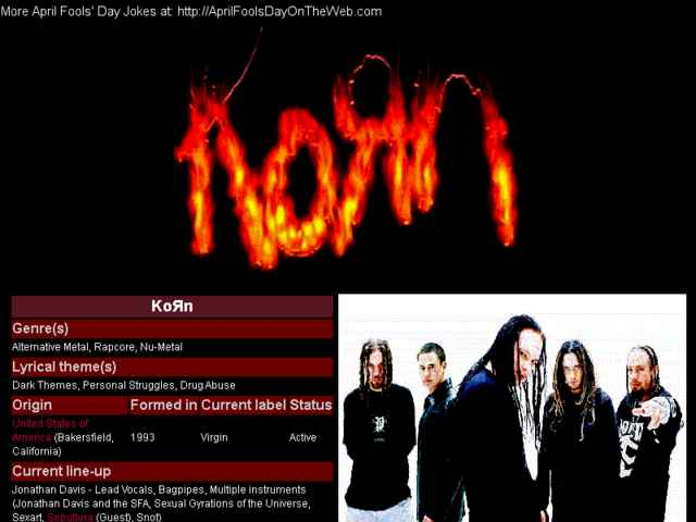 April Fools' Day On The Web (2009/7393) (metal-archives.com - KoRn added to the Metal-Archives)