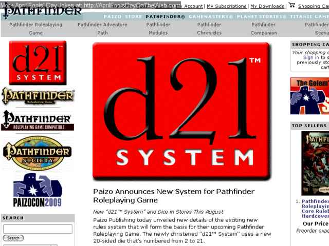 April Fools' Day On The Web (2009/7575) (paizo com - d21 instead of